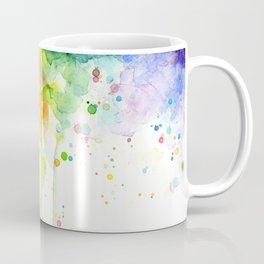 Watercolor Rainbow Splatters Abstract Texture Coffee Mug