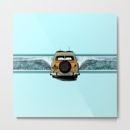 Woody Wave Hawaiian Surf Illustration  Metal Print