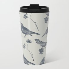Birds and Daisies, drawing in blue and grey Metal Travel Mug