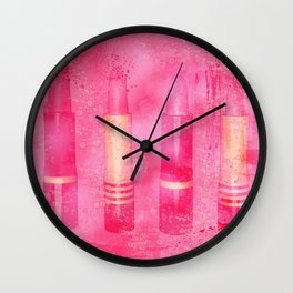 Four Tubes of Lipstick Wall Clock