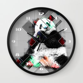 Cute colorful collage Panda Wall Clock