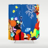 scuba Shower Curtains featuring Corky the scuba-diver by Dano77