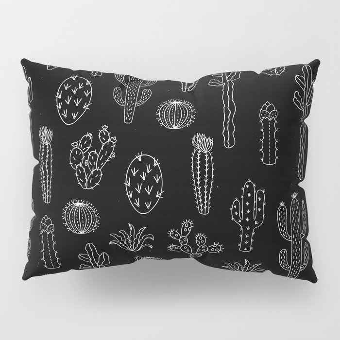 Cactus Silhouette White And Black Pillow Sham