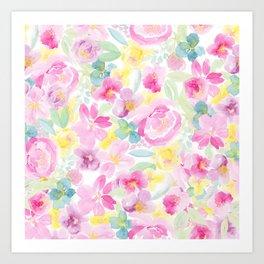 Modern spring summer loose floral pink yellow watercolor pattern Art Print