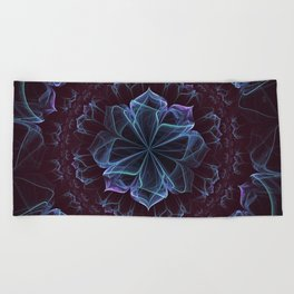 Ornate Blossom in Cool Blues Beach Towel