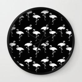 Flamingos Black and White Pattern Wall Clock