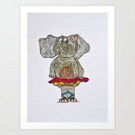 elephant in tutu Art Print