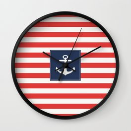 Anchor on red and white stripes Wall Clock