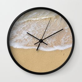 Beautiful wave surfing on a sandy beach Wall Clock