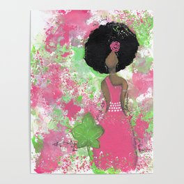 Dripping Pink and Green Angel Poster