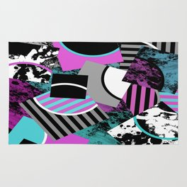 Cluttered Sqaures - Abstract, geometric, stripes, pink, cyan, blue, textured, black, white, arcs Rug
