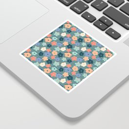 Peach and Aqua Flower Grid Sticker