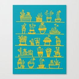 Cactus 28 turquoise yellow Canvas Print
