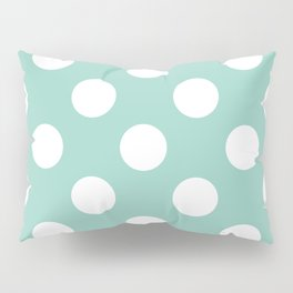 Gone Dotty Spotty - Geometric Orbital Circles In Pale Spring Fresh Green & White Pillow Sham