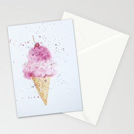 Ice cream Love Summer Watercolor Illustration Stationery Cards