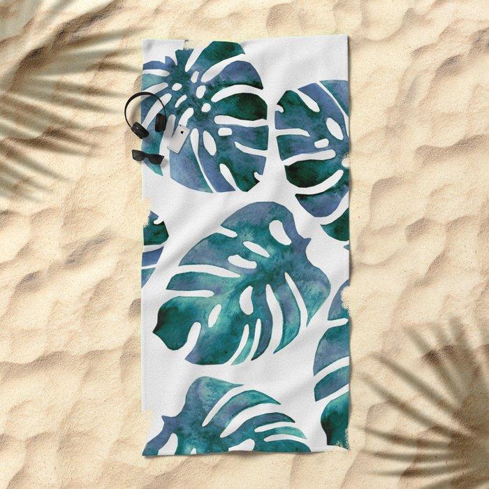 Monstera Blue Beach Towel