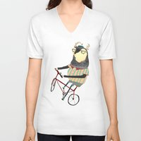 bike V-neck T-shirts featuring Deer on Bike.  by Ashley Percival illustration