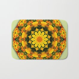 Floral mandala-style, California Poppies Bath Mat