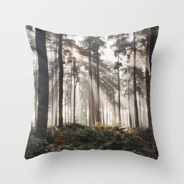 Sunlight burning through mist in a dense woodland. Thetford Forest, Norfolk, UK. Throw Pillow