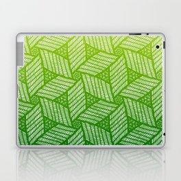 Japanese style wood carving pattern in green Laptop & iPad Skin