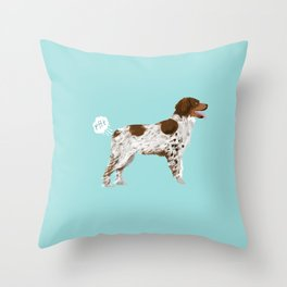 Brittany Spaniel dog breed funny dog fart Throw Pillow