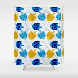 Happy Hanukkah Holidays Blue and Gold Dreidel Pattern Shower Curtain