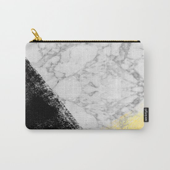 Marble with Black & Gold - gold foil, gold, marble, black and white, trendy, luxe, gold phone Carry-All Pouch