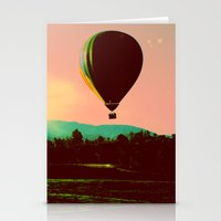 hot air balloon Stationery Cards featuring Hot Air Balloon by Derek Fleener