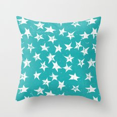 Linocut Stars - Verdigris & White Throw Pillow