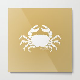Crab Butter Yellow Background Metal Print