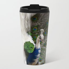 Blue White Peacock Metal Travel Mug