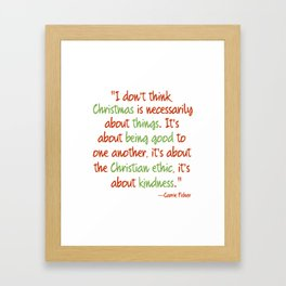 Carrie Fisher Christmas Quote Framed Art Print