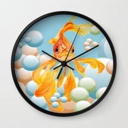 Vermillion Goldfish Blowing Bubbles Wall Clock