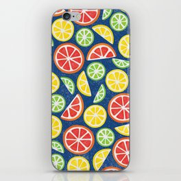 Vitamin C Super Boost - Citric Fruits on Blue iPhone Skin