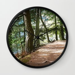 FOREST TRAIL WALKING INTO THE LIGHT Wall Clock