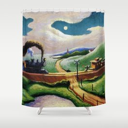 American West Classical Masterpiece 'Trains Colliding' by Thomas Hart Benton Shower Curtain
