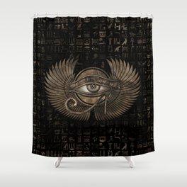 Egyptian Eye of Horus - Wadjet Vintage Gold Shower Curtain