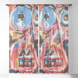Art brut outsider underground graffiti portrait Sheer Curtain