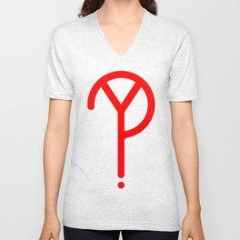 Red Y? Symbol Unisex V-Neck