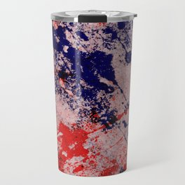 Hot And Cold - Textured Abstract In Blue, Red And Black Travel Mug