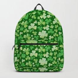 Lucky Green Watercolour Shamrock Pattern Backpack