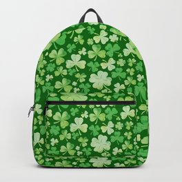 Lucky Green Watercolour Shamrock Pattern Backpack