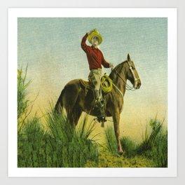 Vintage Western Cowboy On Horse In Grassy Field Art Print