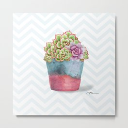 HEN AND CHICKS IN A POT Metal Print