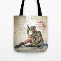tank girl Tote Bags featuring Tank Girl by Joe Badon
