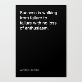 Winston Churchill quote about success [Black Edition] Canvas Print