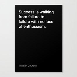 Winston Churchill quote about success [Black Edition] Canvas Print