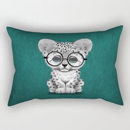 Cute Snow Leopard Cub Wearing Glasses on Teal Blue Rectangular Pillow