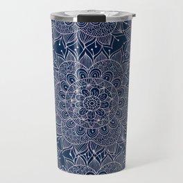 Modern navy blue blush pink watercolor floral mandala Travel Mug