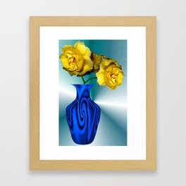 Bllue Wave Vase And Yellow Roses Framed Art Print